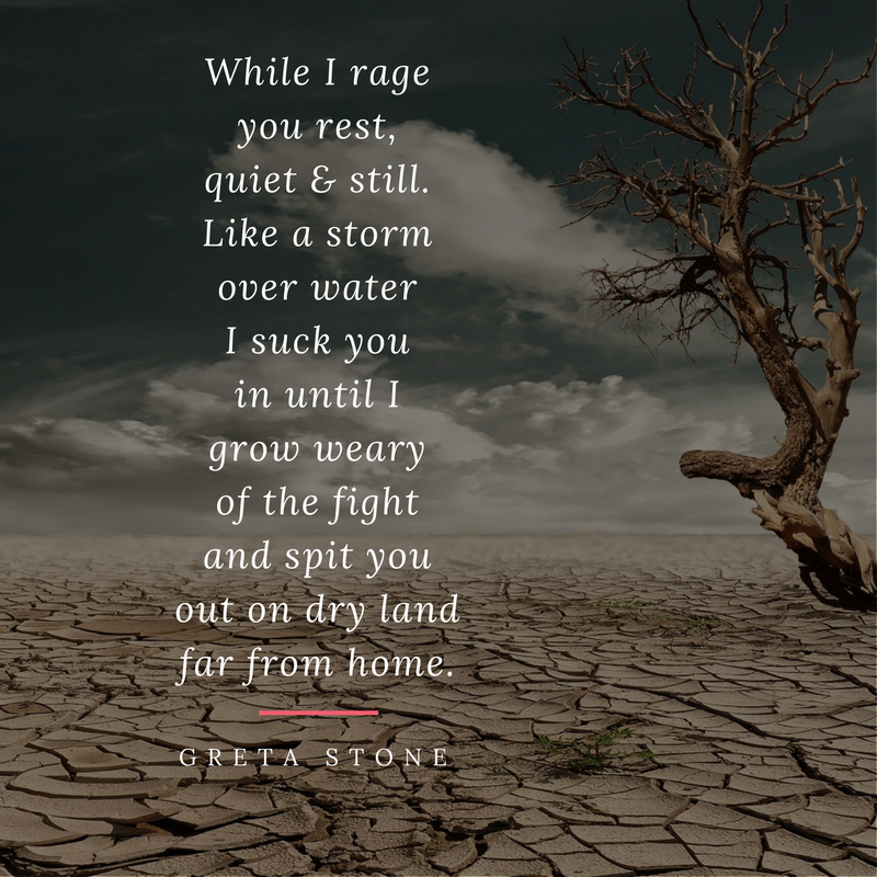 Storm over water II poem and writing process by Greta Stone
