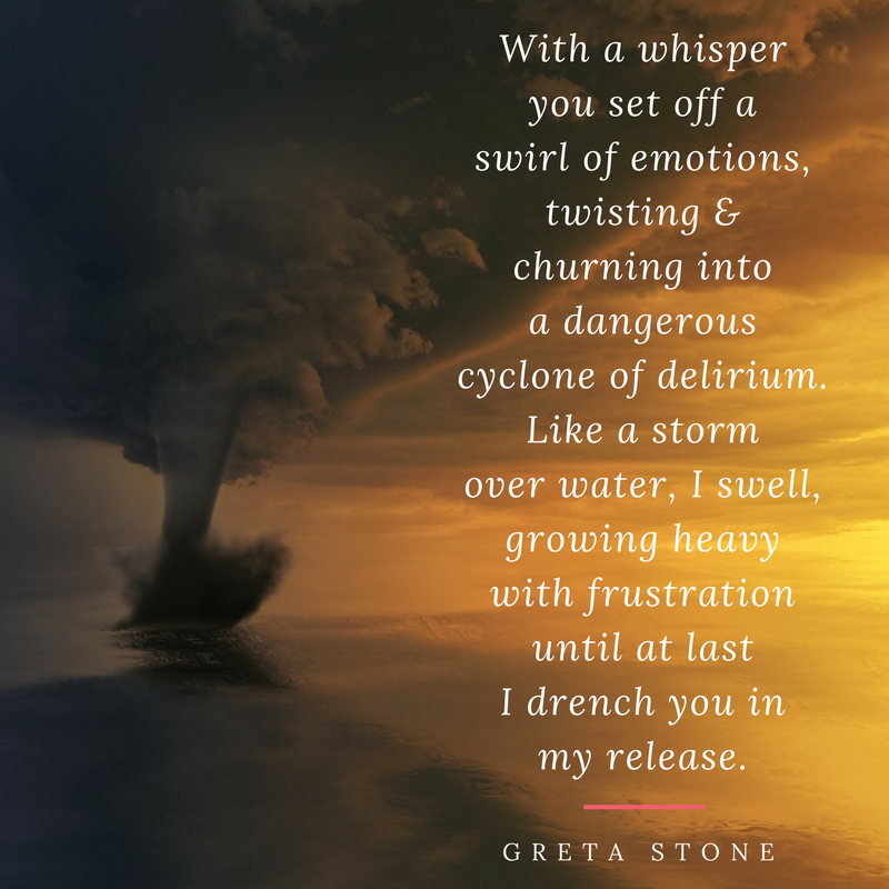 Storm over water poem and writing process by Greta Stone